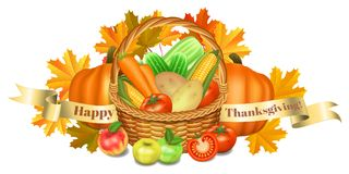 Happy Thanksgiving greeting card. Basket with vegetables, apples Royalty Free Stock Photography