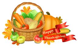 Happy Thanksgiving greeting card. Basket with vegetables, apples Stock Images
