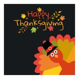 Happy Thanksgiving. Greeting card with funny cartoon turkey autumnal background. Royalty Free Stock Photo