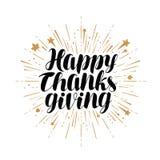 Happy Thanksgiving, greeting card. Handwritten lettering vector stock illustration