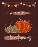 Happy thanksgiving greeting card with illustration of line style drawn pumpkins and handwritten lettering stock illustration