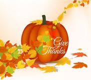 Happy thanksgiving greeting card with leaves, pumpkin Royalty Free Stock Photography