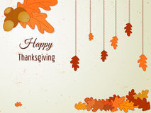 Happy Thanksgiving greeting card with oak leaves and acorn. Stock Photography
