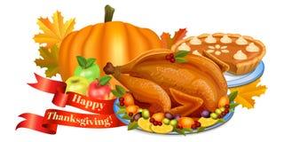 Happy Thanksgiving greeting card. Pumpkin, apples, turkey Stock Photos