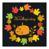 Happy Thanksgiving. Greeting card with pumpkin on an autumnal background. Stock Photos