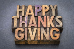 Happy Thanksgiving greeting card in wood type Stock Photos