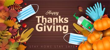 Free Happy Thanksgiving Greeting Design With Pumpkin, Corn, Sanitizer, Gloves, Mask And Autumn Leaves. Coronavirus, Covid 19 Concept. Stock Images - 195338874