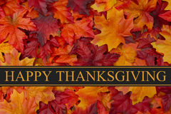 Happy Thanksgiving Greeting. Fall Leaves Background and text Happy Thanksgiving stock photo