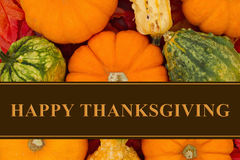 Happy Thanksgiving Greeting. Some fall leaves and pumpkins and gourds with text Happy Thanksgiving royalty free stock photos