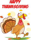 Happy Thanksgiving Greeting With Turkey Walking Stock Photo