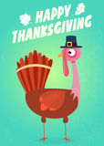 Happy Thanksgiving Greeting With Turkey Walking Royalty Free Stock Image