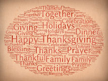 Happy Thanksgiving. Greetings and related words written with ink on paper Royalty Free Stock Photo