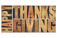 Happy thanksgiving. Greetings or wishes - isolated word abstract in vintage letterpress wood type blocks Royalty Free Stock Image