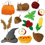 Happy Thanksgiving and halloween cartoon character and objects Royalty Free Stock Image