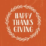 Happy Thanksgiving - hand drawn lettering typography poster stock illustration