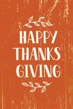 Happy Thanksgiving - hand drawn lettering typography royalty free illustration