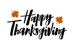 Happy Thanksgiving - hand drawn lettering typography poster vector illustration