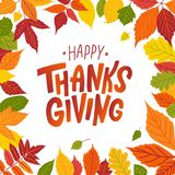 Happy thanksgiving. Hand drawn text Lettering card. Vector illustration. Stock Photo
