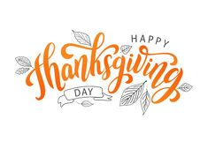 Happy thanksgiving. Hand drawn text Lettering card. Vector illustration. Stock Photography