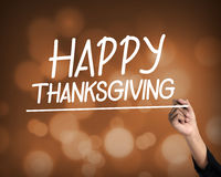 Happy Thanksgiving hand writing virtual screen text Stock Photography