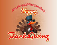 Happy Thanksgiving handwritten message and  cartoon of a perky turkey wearing a top hat. And bow-tie; Thanksgiving turkey on fabric/jute texture for Stock Photos