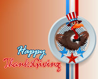 Happy Thanksgiving handwritten message and  cartoon, perky turkey. Wearing a Uncle Sam hat and bow-tie; Thanksgiving turkey on national flag colors for Stock Photography