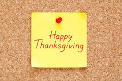 Happy Thanksgiving Handwritten On Sticky Note stock images