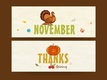 Happy Thanksgiving header or banner. Stock Photo