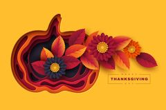 Happy Thanksgiving holiday background. 3d layered effect pumpkin with bright autumn flowers, leaves and greeting text vector illustration