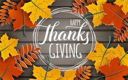 Happy Thanksgiving holiday banner with congratulation text on frame. Autumn tree leaves border on wooden background Vector Illustration