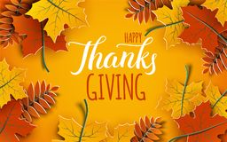 Happy Thanksgiving holiday 3d banner with congratulation text. Autumn tree leaves frame, yellow background. Autumnal design for fall season greeting card stock illustration