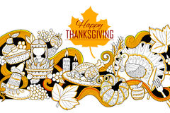 Happy Thanksgiving holiday doodle Stock Photography