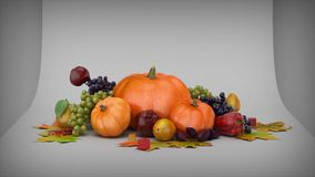 Happy Thanksgiving Hop. This video features three dimensional cubes falling on a table and popping into fruit and other fall harvest items with a Happy