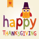 Happy thanksgiving illustration with owl in pilgrim costume Royalty Free Stock Photography
