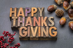 Happy Thanksgiving In Wood Type Royalty Free Stock Photo