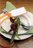 Happy Thanksgiving individual dinner table place setting - vertical with autumn flowers Royalty Free Stock Images