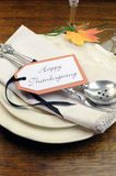 Happy Thanksgiving individual dinner table place setting - vertical. Stock Images