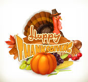 Happy Thanksgiving invitation. Greeting card. 3d vector Stock Photo