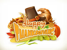 Happy Thanksgiving. Invitation. Greeting card. 3d vector Royalty Free Stock Image