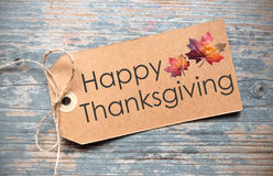 Happy thanksgiving label. Happy thanksgiving handwritten on a label Stock Image