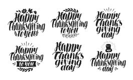 Happy Thanksgiving, label set. Holiday icon or symbol. Lettering, calligraphy vector illustration royalty free illustration