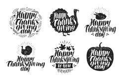 Happy Thanksgiving, label set. Holiday icons or symbols. Lettering, vector illustration royalty free illustration