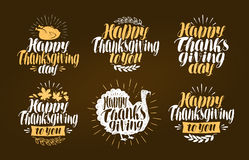 Happy Thanksgiving, label set. Holiday symbol or logo. Lettering vector illustration. Happy Thanksgiving, label set. Holiday symbol or logo. Lettering vector Royalty Free Stock Photo