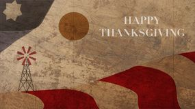 Happy Thanksgiving Landscape Illustration with Farm Mill. Star and Stripes on Wood Background Royalty Free Stock Images