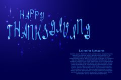 Happy Thanksgiving lettering, holiday calligraphy with luminescence stars for banner, poster, greeting card, party invitation Royalty Free Stock Photography