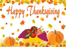 Happy Thanksgiving lettering with pumpkins, grapes and vegetables Stock Photography