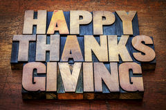 Happy Thanksgiving in letterpress wood type Stock Photography