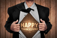 Happy Thanksgiving On Man Chest Royalty Free Stock Image