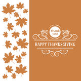 Happy Thanksgiving. Maple leaf. Vintage Design for Happy Thanksgiving celebration. Stock Photo