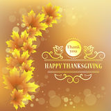 Happy Thanksgiving. Maple leaf. Vintage Design for Happy Thanksgiving celebration. Stock Images